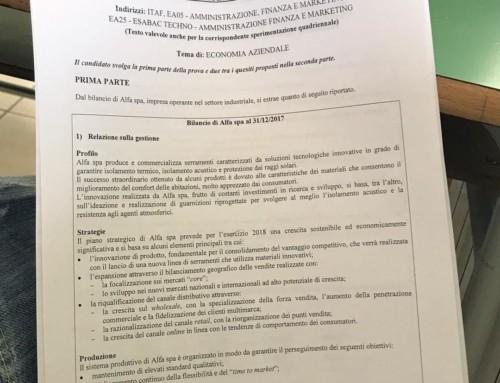 Maturità 2019. Tema di ragioneria. Prof Carlini
