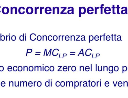 Equilibrio concorrenziale di breve periodo. Prof Carlini