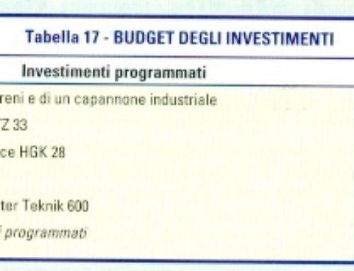 Budget degli investimenti. Tabella 17. Prof Carlini
