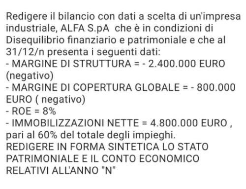 Bilancio con dati a scelta. Prof Carlini esercizio semplice