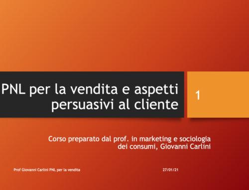 PNL come tecnica di vendita. Prof Carlini